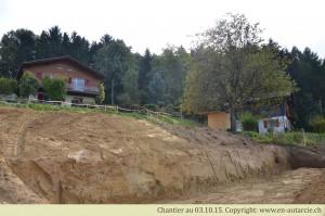 03.10.15 Terrassement du sous-sol pour la création des murs de fondation.