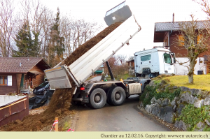 02.02.16 Livraison de terre afin de terminer le terrassement.